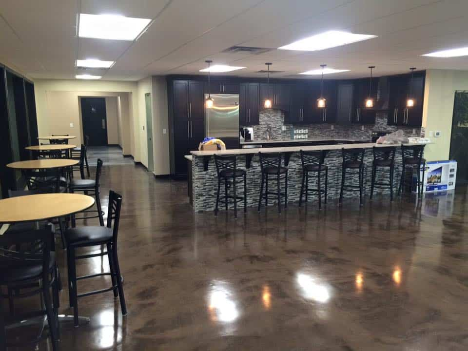 Stained Epoxy Metallic Basement Floor