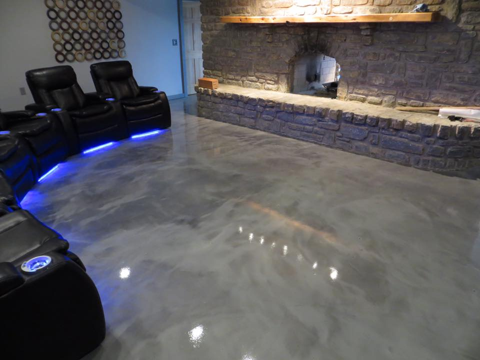 Metallic basement floor