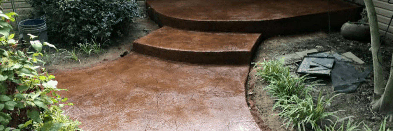 acid stained concrete steps