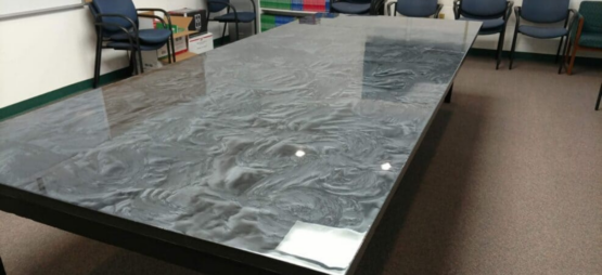 Metallic Epoxy Tabletop After