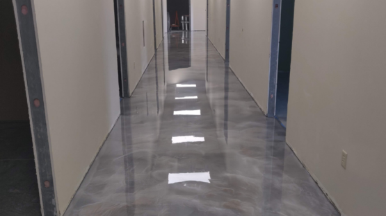 Church Hallway Metallic Epoxy Floor