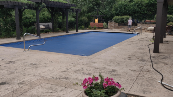Pool Deck Cleaning and Sealing - Before