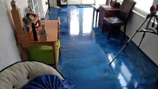 Blue Metallic Epoxy Floor After