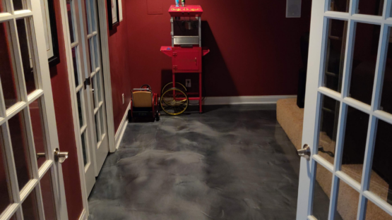Gray Epoxy Theatre Room Floor