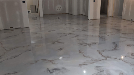 Epoxy Marble Basement Floor