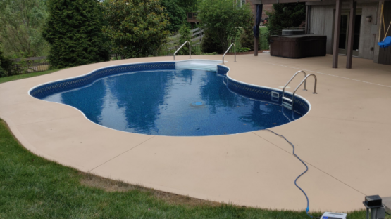 Solid Color Stained Pool Deck